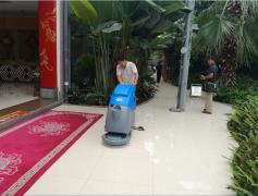 全自动洗地机在酒店瓷砖地面使用案例